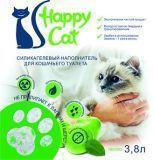 Happy Cat 3,8л (1,7кг) Яблоко Силикагелевый наполнитель