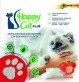 Happy Cat 3,8л (1,7кг) Клубника Силикагелевый наполнитель для кошачьего туалета
