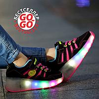 Кроссовки на роликах с подсветкой, черно-розовые, замшевые, фото 1