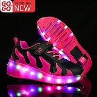Кроссовки на роликах с подсветкой, черно-малиновые волны, фото 1