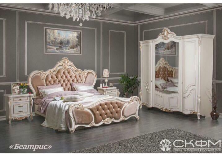 БЕАТРИС спальный гарнитур, крем, без шкафа