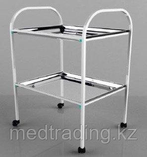 Столик процедурный с 2-мя металлическими поддонами (никелированными), фото 2