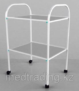 Столик процедурный с 2-мя стеклянными полками (стекло прозрачное), фото 2