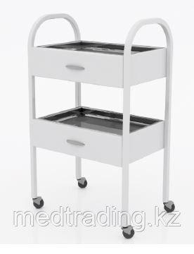 Столик хирургический с 2-мя выдвижными ящиками и 2-мя металлическими поддонами (никелированными), фото 2