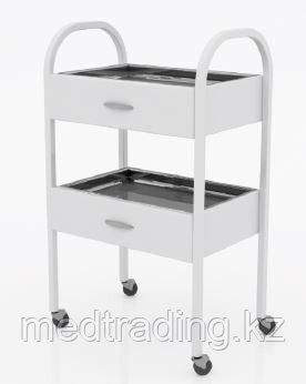 Столик хирургический с 2-мя выдвижными ящиками, 2-мя нержавеющими поддонами, фото 2