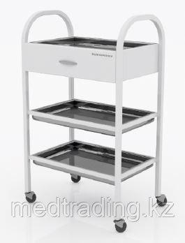 Столик хирургический с 1-им выдвижным ящиком и 3-мя металлическими поддонами (никелированными), фото 2