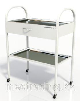 Столик хирургический с 1-им выдвижным ящиком и 2-мя металлическими поддонами (никелированными), фото 2