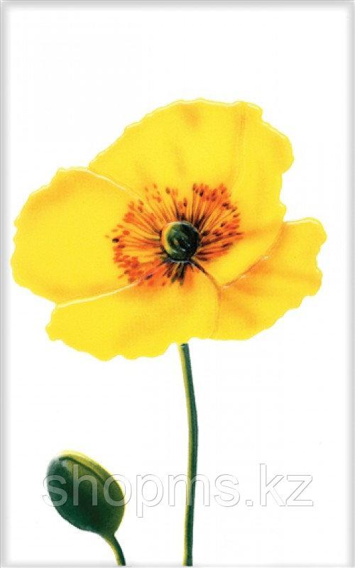 Керамическая плитка М-Квадрат Моноколор декор цветок желтый 340031 (25*40) *