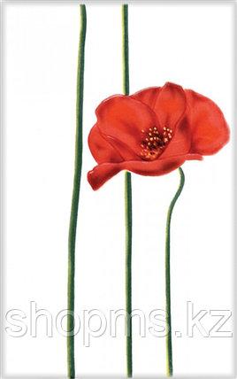 Керамическая плитка М-Квадрат Моноколор декор цветок красный 340043 (25*40) *, фото 2