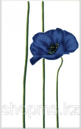 Керамическая плитка М-Квадрат Моноколор декор цветок синий 340012 (25*40) *, фото 2