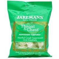 Jakemans, Леденцы от кашля и  боли в горле Throat & Chest со вкусом мяты перечной, 30 леденцов.