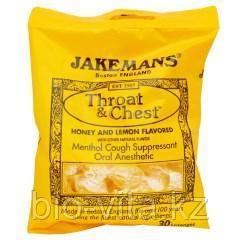 Jakemans, Леденцы от кашля и боли в горлеThroat & Chest со вкусом меда и лимона, 30 леденцов.
