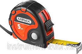 Рулетка MIRAX, 3 стопора, двухкомпонентный пластиковый корпус, 5мх25мм