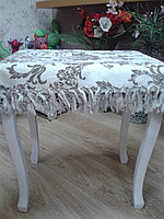 Скатерть с бахромой, без бахромы. 145*240 см бежевая с белым рисунком, с бахромой