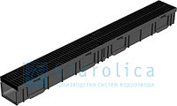 Комплект Gidrolica Light: лоток водоотводный ЛВ-10.11,5.5,5 пластиковый с решеткой пластиковой щелевой А15, фото 1