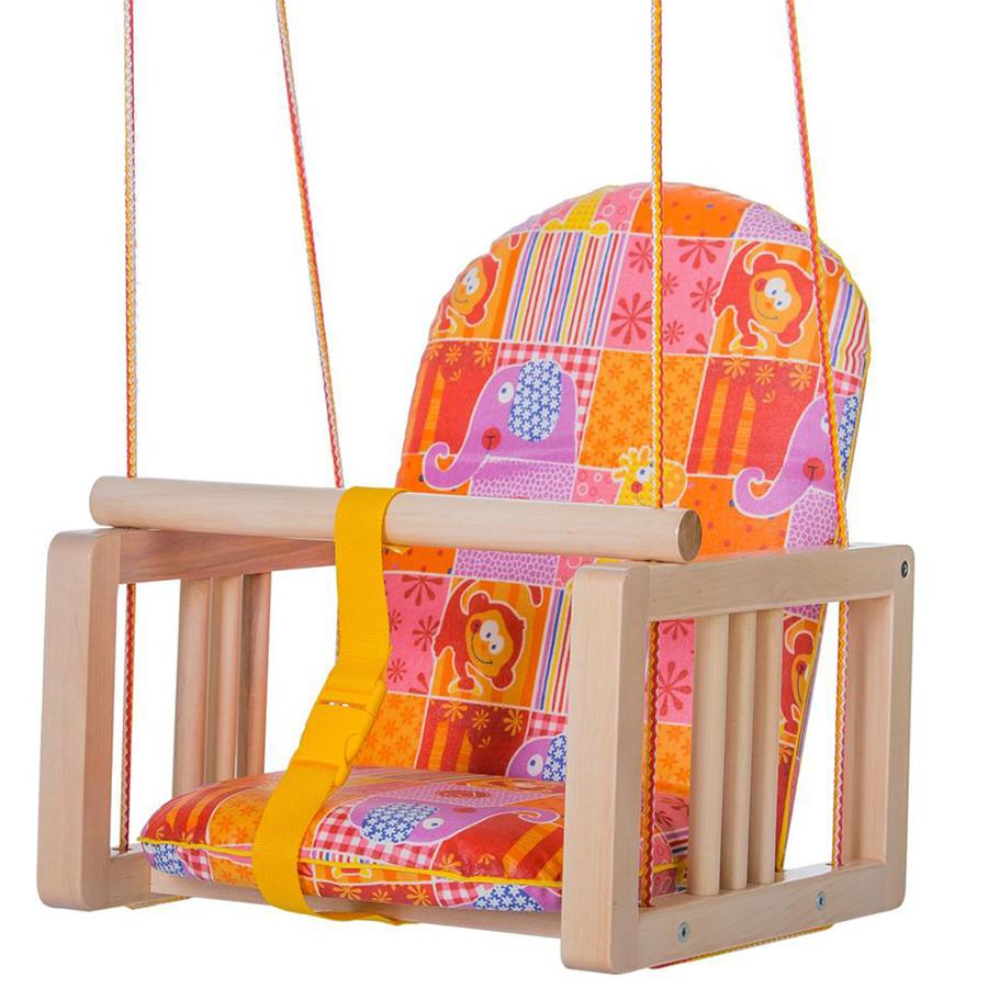 ГНОМ Качели деревянные подвесные мягкое сиденье