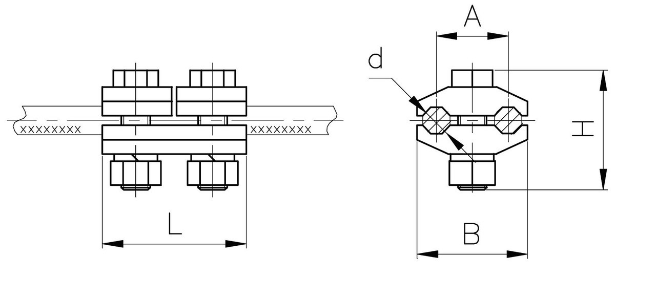 Зажим плашечный ПА-3-2А (двухболтовой)