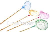 Детский сачок для ловли с бамбуковой ручкой d=20 см (маленький) в ассортименте