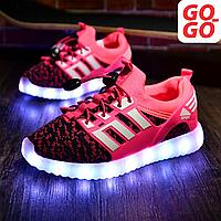 LED Кроссовки детские со светящейся подошвой, розовые, лето