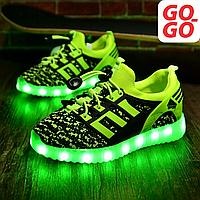 LED Кроссовки детские со светящейся подошвой, зеленые, лето