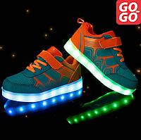 LED Кроссовки детские со светящейся подошвой, голубые с оранжевым, лето, фото 1