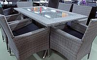 ВИРДЖИНИЯ Grey - обеденный комплект мебели из искусственного ротанга на 6 человек (1 стол, 6 кресел)