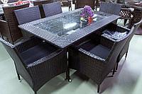 ВИРДЖИНИЯ Brown - обеденный комплект мебели из искусственного ротанга на 6 человек (1 стол, 6 кресел
