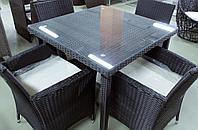Rattan Wood - обеденный комплект мебели из искусственного ротанга (1 стол, 4 кресла), фото 1