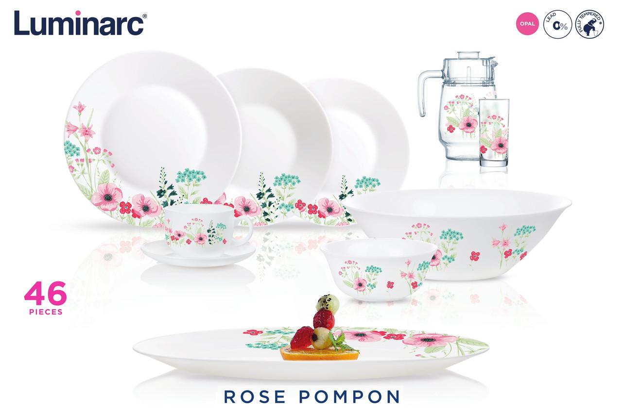 Столовый сервиз Luminarc Rose Pompon 46 предметов