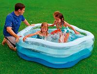 Надувной бассейн INTEX 56495 Краски Лета, надувное дно, 185х180х53 см, от 6 лет, фото 1