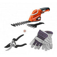Садовые ножницы, кусторез, перчатки, ручные ножницы Black And Decker GSL700KIT