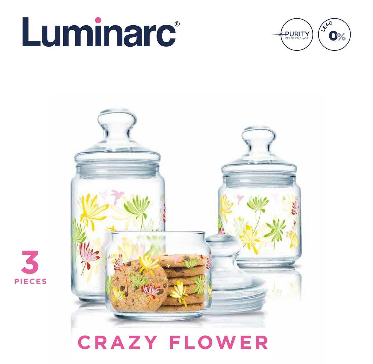 Набор банок Luminarc Crazy Flower 3пр.