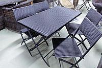 Rattan Fold - обеденный комплект складной мебели из исскуственного ротанга (1 стол, 4 стула), фото 1