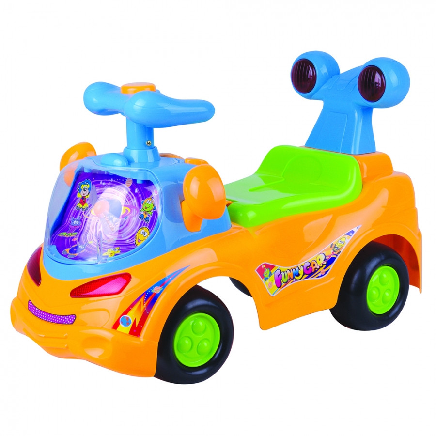 Каталка Chilok BO Веселая машинка оранжевая