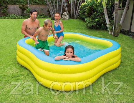 Надувной квадратный бассейн INTEX, 229х229х56 см, Семейная купальня от 6 лет 57495