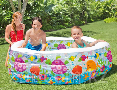 Шестиугольный надувной бассейн Риф Deluxe INTEX 56493, надувное дно, 193х178х61 см, от 6 лет