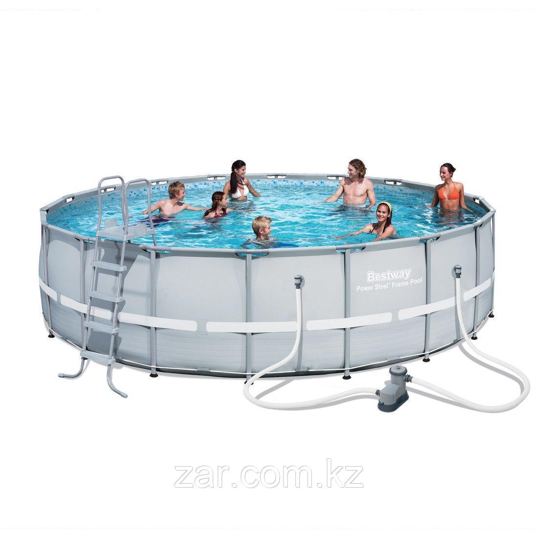 Каркасный бассейн Bestway 56427 549х132 см, 26000 л.,фильтр-насос 5678л/ч, тент, лестница, подстилка.