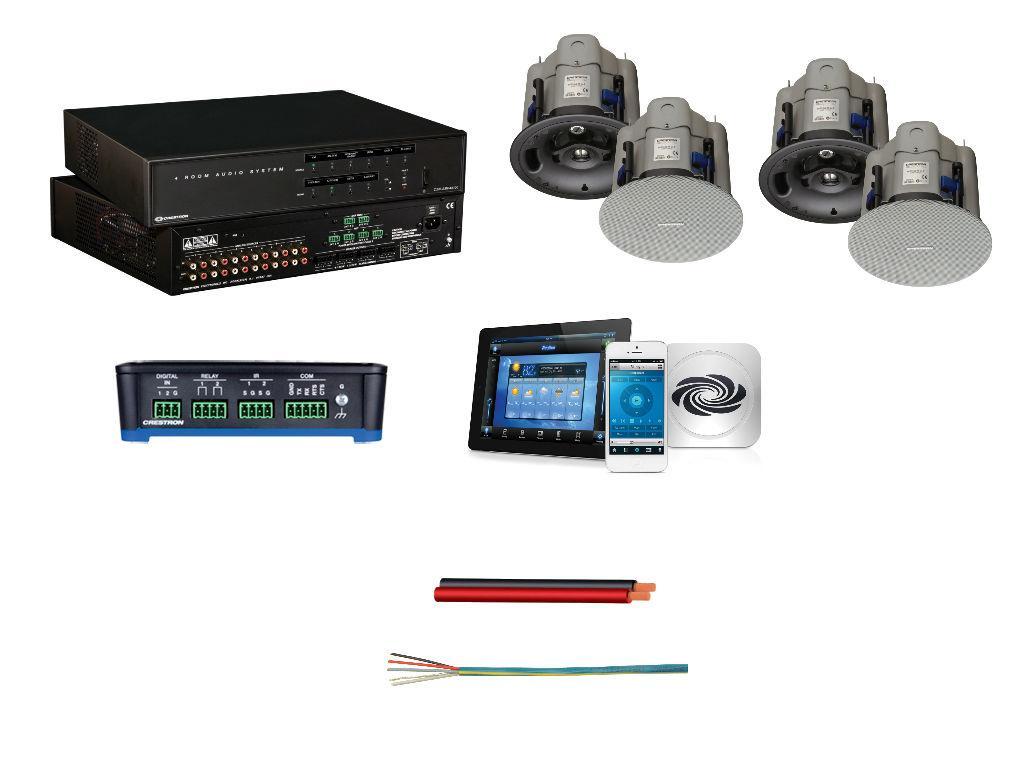 Crestron - набор автоматизации звука на базе C2N-AMP-4X100 и контроллера RMC3