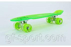 Пенни борд 22  Прозрачный Зеленый с светящимися колесами