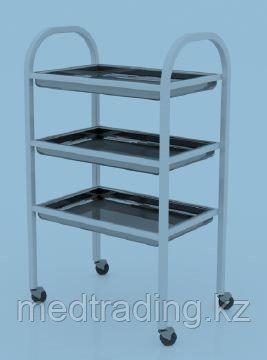 Столик процедурный с 3-мя металлическими поддонами (никелированными), фото 2