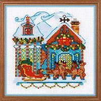 """Набор для вышивания крестом """"Домик с санями"""", фото 1"""