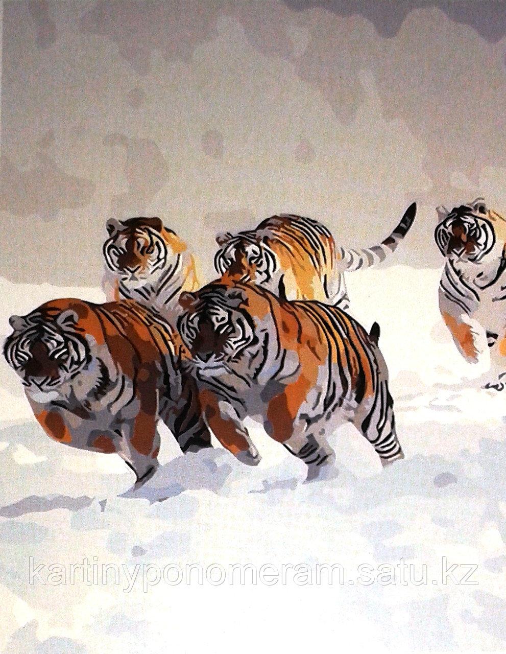 """Картина по номерам """"Бегущие тигры"""""""