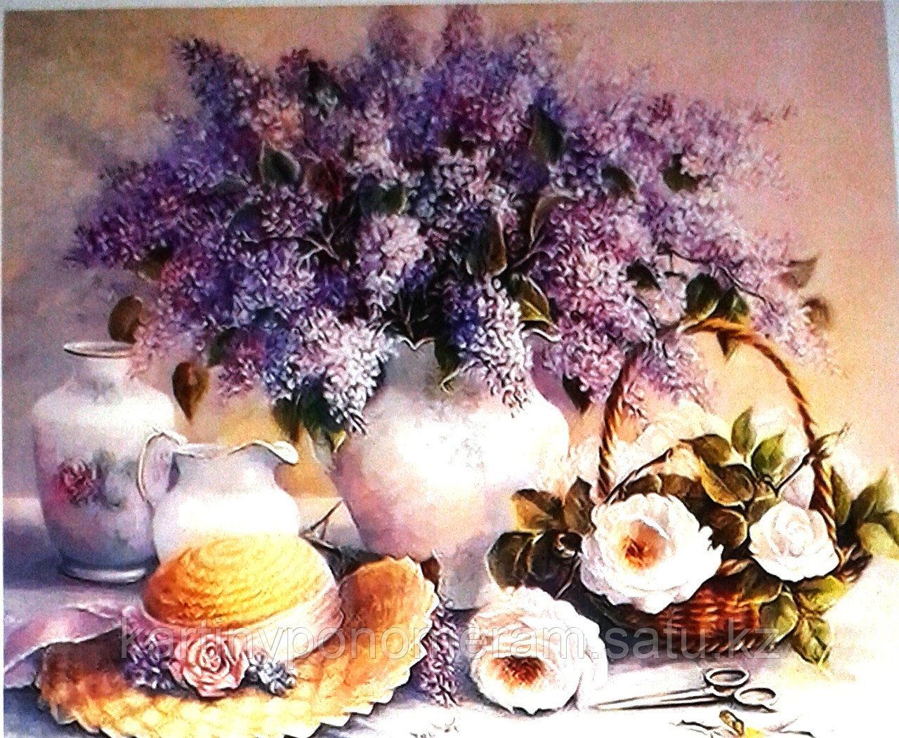 """Картина по номерам """"Сирень и нежные розы"""""""