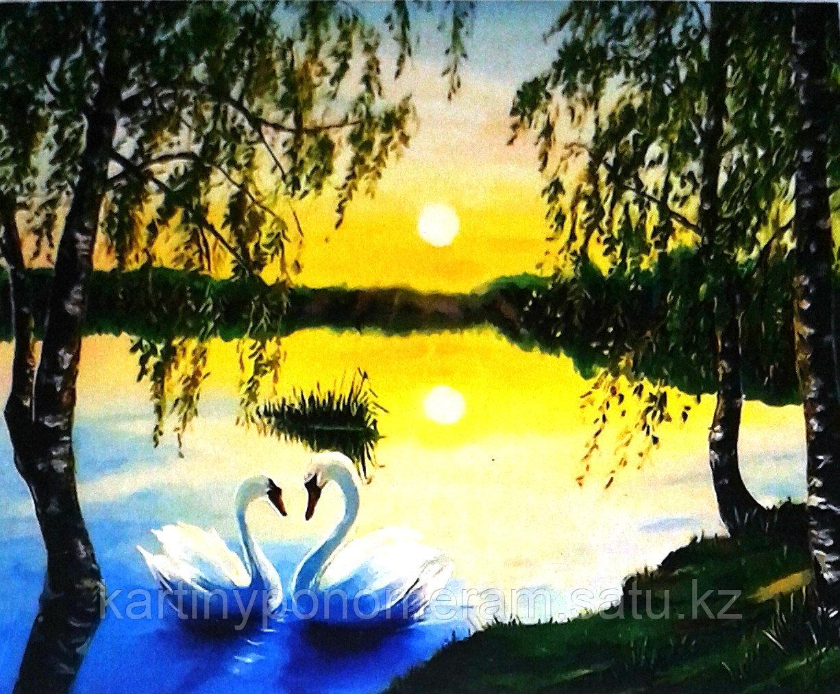"""Картина по номерам """"Лебеди на закате"""""""