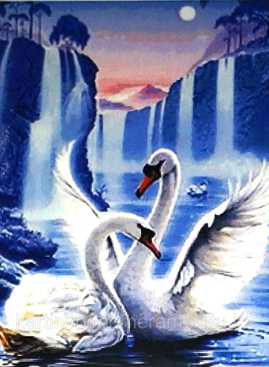 """Картина по номерам """"Лебеди у голубого водопада"""""""