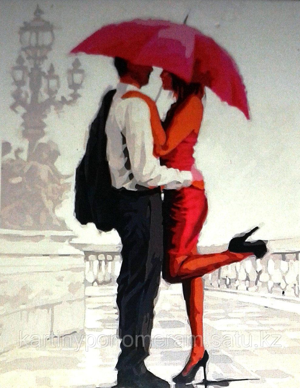"""Картина по номерам """"Под красным зонтиком"""""""