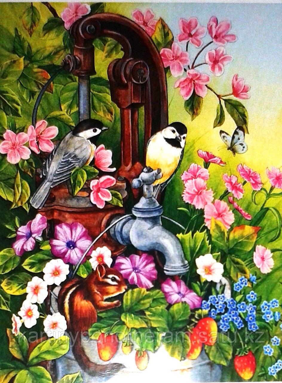 "Картина по номерам ""Синички в саду"""