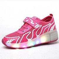 Кроссовки на роликах с подсветкой, розовые сетка, 38 р