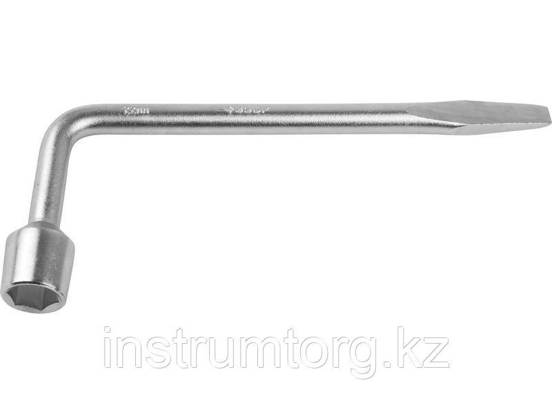 """Ключ баллонный ЗУБР """"МАСТЕР"""" L-образный, с монтажной лопаткой, 22мм"""