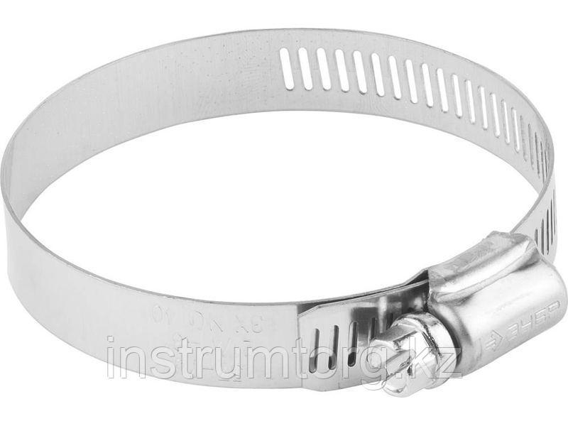 Хомуты, нерж. сталь, просечная лента 12.7 мм, 32-51 мм, 100 шт, ЗУБР Профессионал